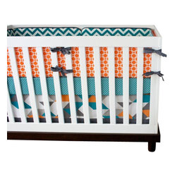 """Modified Tot - Baby Bedding Crib Set, Turquoise Geo - Our exclusive crib set featuring turquoise, orange and gray geometric prints is the perfect centerpiece for his nursery! The three piece set includes bumpers with hand-stitched fabric ties and contrasting piping, a fitted sheet with elastic all the way around and a four-sided skirt with a 15"""" drop. Bumpers are created in six separate pieces for easy transition to a toddler bed, they measure 1"""" thick and 10"""" high. All items are proudly made in the USA. All products are made to order."""