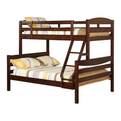 Walker Edison - Walker Edison Twin/Double Solid Wood Bunk Bed - Brown X-BWDOTWB - Beloved for it's compact foot print, this bunk bed is the perfect addition for any bedroom. Crafted from solid pine wood, this traditional bunk bed is functional, sturdy and exceptionally stylish. Features full length guardrails and an integrated ladder that can be attached on either end. A great solution for any space-saving needs, this bunk bed also easily converts into two individual beds for versatility.Features:&#8226: Stylish, traditional design&#8226: Solid hardwood construction&#8226: Rich, attractive finish&#8226: Easily and safely separates into two beds&#8226: Supports slats included, no box spring needed&#8226: Conforms to the latest consumer product safety standards&#8226: Ideal for space-saving needs&#8226: Maximum recommended upper mattress thickness of 9 in.&#8226: Each bunk supports 250 lbs.&#8226: Does NOT include mattresses or bedding&#8226: Ships ready-to-assemble with necessary hardware and tools&#8226: Assembly instructions included with toll-free number and online support