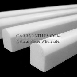 Bianco Dolomiti Marble Italian White Dolomite Bullnose Pencil Molding Polished - White Dolomite Marble Bullnose Pencil Molding also known as bianco dolomiti Bullnose Pencil Molding Marble. Available in polished finish, highest quality Italian marble Bullnose Pencil Molding is perfect for both residential and commercial projects (kitchen renovation, shower remodeling, renovating bathroom, backsplash, flooring, cladding walls). Bullnose Pencil Moldings are mainly preffered for their clean, aesthetic qualities. A large selection of coordinating products are available and includes marble subway tiles, basketweave mosaics, hexagon mosaics, herringbone mosaics, square tiles, rectangle tiles and baseboards