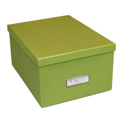"""Bigso Box - Bigso White Gustav Photo/DVD Box, Green - YooHoo Lovies, meeting your organizational needs AND  your style needs for your space is easy with Bigso boxes and desk accessories. Bigso Box paper laminate products are super-strong, acid free recycled fiberboard. The Gustav photo/DVD box can be for photo and DVD storage but it can also store lots of other things. Envelopes, greeting cards, markers, overflow tape, staples and post-its. Pack up the clutter in colorful boxes. Use different colors to stack on top of one another or stack a Gustav box on top of the Oscar box (both metal labels will face front). Mix and match with all the Bigso box collection for a cheerful office space.  Box top removes completely. Silver metal label holder is on the width side.  11.6""""L x 8.8""""W x 5.9""""H"""