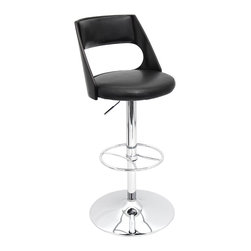 "Lumisource - Presta Bar Stool, Wenge/Black - 17"" L x 17"" W x 33 - 43"" H"