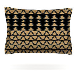 "Kess InHouse - Nina May ""Deco Angles Gold Black"" Pillow Sham (Cotton, 40"" x 20"") - Pairing your already chic duvet cover with playful pillow shams is the perfect way to tie your bedroom together. There are endless possibilities to feed your artistic palette with these imaginative pillow shams. It will looks so elegant you won't want ruin the masterpiece you have created when you go to bed. Not only are these pillow shams nice to look at they are also made from a high quality cotton blend. They are so soft that they will elevate your sleep up to level that is beyond Cloud 9. We always print our goods with the highest quality printing process in order to maintain the integrity of the art that you are adeptly displaying. This means that you won't have to worry about your art fading or your sham loosing it's freshness."
