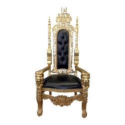 "Throne-King Chair, Gold/Black - These LOUIS ""IV"" AND ""V"" throne chairs are hand carved from solid mahogany. Finished in satin brown and gold and silver leaf, upholstered with many different colors of vinyl with antiqued brass tacks. These ""King"" chairs are 6' tall."
