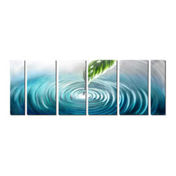 Pure Art - Ripples of Zen Modern Leaf Art Set of 6 - The endless effect of ripples from a single drop of water is the subject of this modern metal wall art. A large, ribbed leaf is the vessel for drops of water that may be traveling from the sky, across the leaves of trees and eventually find their way into the pool of cool, blue water. The simplicity of this artwork invokes a sense of serenity.Made with top grade aluminum material and handcrafted with the use of special colors, it is a very appealing piece that sticks out with its genuine glow. Easy to hang and clean.