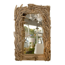 Antique Driftwood Mirror - Driftwood mirrors are popular. I would hang this antique driftwood mirror in an entryway.