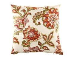 Silver Nest - Floral Ikat Down Pillow- 24x24 - These pillows are constructed of heavyweight, durable and quite stunning fabric. Unfortunately the fabric content and laundry care are not provided by the manufacturer. You will just have to trust us that you are going to fall in LOVE with this pillow! A feather down insert is included with each pillow so there is no need to go hunting around for the correct size insert. Pillows come packaged in a set of two- all ready to toss on the sofa, loveseat, chair, bed, floor… wherever you need that pop of color and design! Price is noted for a single pillow, however pillows must be sold in a set of 2.