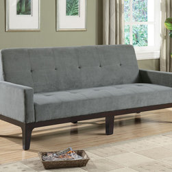 Coaster - Grey Contemporary Sofa Bed - This casual styled sofa bed is covered in a durable blue/gray microfiber fabric. Padded track arms and button tufted seating add to the casual styling. Exposed wood base is finished in cappuccino.