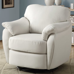 Monarch - White Leather-Look Swivel Accent Chair - Whether standing alone or used to accent a full living room ensemble, this chair will bring optimal comfort and exceptional style to your home. Designed with an overstuffed padded back, seat and arms that creates for a unique lounge chair shape, this accent chair has a sleek yet gentle contemporary style that will stand out in any room. Raised on polished chrome plated swivel base and draped in a bright white leather-look upholstery, this chair's chic modern vibe is only further emphasized. Gentle to the eye and to the touch, this chair is stuffed with a generous amount of foam for soft support you will be just dying to sink into.