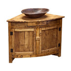 FoxDen - Corner Vanity - This rustic vanity fits perfectly against two walls for bathrooms that are shaped a little bit differently. The wooden slats are reminiscent of an old barn.