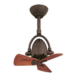 """Matthews Fan Company - Industrial 16"""" Diane Textured Bronze Wood Blades Ceiling Fan - The Diane ceiling fan offers an inspired retro industrial look and a full set of features. Wide 120 degree side-to-side oscillation offers great air circulation. Comes in a sophisticated textured bronze finish with handsome mahogany finish wood blades. Includes remote control which operates both fan speed and oscillation. 3-speed motor comes with a limited lifetime warranty. Includes 20"""" downrod; other sizes available upon request. Textured bronze finish. Mahogany finish wood blades. Cast aluminum and steel construction. Includes remote control. 120 degree oscillation. Limited lifetime warranty. 10"""" downrod included. 16"""" blade span. 35 degree blade pitch. (IMAP)  Textured bronze finish.  Mahogany wood finish blades.  13"""" blade span.  70 degree blade pitch.  Includes remote control.  10"""" downrod included.  Minimum 9-foot ceiling required for installation.  Fan height 24"""" ceiling to bottom (with 10"""" downrod).  Canopy 6"""" wide 2"""" high."""