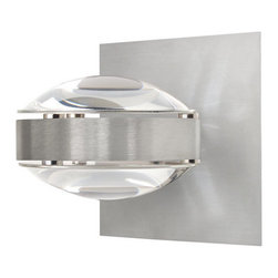Besa Lighting - Besa Lighting OPTOS1W-CLCL Optos 1 Light Halogen Wall Sconce with Clear / Clear - The Optos wall sconce uses two separate optical-effect lenses to produce interesting displays of up/down light. The aluminum body allows for 359 degree rotation and holds the lenses with clips. Our Clear Lens is a transparent molded borosilicate glass, with a parabolic shape designed to carefully refract the light rays in the light source. The result is an edgy display that exudes an energetic mood. When lit this gives off a light that is functional and vibrant. This handcrafted glass uses a process where every glass is consistently produced using a mold, keeping variations to a minimum.Features: