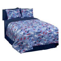 Veratex Inc - Blue Soccer Locker Comforter Set Football 3 Piece Twin Bedding - Features: