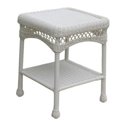 Home Decorators Collection - Sahara End Table - The Sahara End Table exudes classic style and unmatched durability. In addition to its fun, high-quality wicker construction, it features an extra shelf underneath for additional outdoor storage. Give your outdoor living area a casual touch of home today with this essential piece of outdoor furniture. Available in your choice of color. The perfect complement to your outdoor decor.