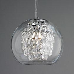 Glass Globe & Crystal Pendant Light -