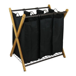 Oceanstar - Oceanstar Hampers & Carts X-Frame Bamboo 3-Bag Laundry Sorter BROWN XBS1484 - Shop for Storage & Organization at The Home Depot. Doing your laundry has never been this effortless and convenient. The Oceanstar X-Frame Bamboo Laundry Sorter does the job for you with its 3 bag compartments to separate your whites from your colors towels beddings and delicates from everyday wear. The removable hooks on each bag allow you to grab and go hassle free. It is perfect for families kids or individual use. Whether as a gift or for your own use the elegant and modern design of the Oceanstar X-Frame Bamboo 3-Bag Laundry Sorter is a great addition that will accentuate any bed and bath. Color: BROWN.