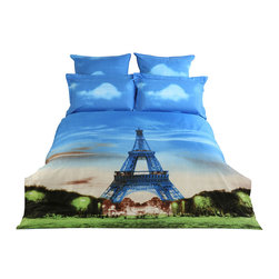 Dolce Mela - Luxury King Size Duvet Covet Set City Themed Dolce Mela DM429K - Decorate your bedroom with this city themed bedding of Eiffel Tower printed on this bedding ensemble and bring yourself to Paris every time you enter your bedroom.