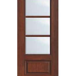 "French Single Door 96 Wood Mahogany Full Lite 12 Lite - SKU#    MCR06-SDL3Brand    GlassCraftDoor Type    FrenchManufacturer Collection    3 Lite French DoorsDoor Model    3 LiteDoor Material    FiberglassWoodgrain    Veneer    Price    1210Door Size Options      +$percent  +$percentCore Type    Door Style    Door Lite Style    3/4 Lite , 3 LiteDoor Panel Style    1 PanelHome Style Matching    Door Construction    TDLPrehanging Options    Slab , Prehung , ImpactPrehung Configuration    Single DoorDoor Thickness (Inches)    1.75Glass Thickness (Inches)    Glass Type    Double GlazedGlass Caming    Glass Features    Tempered glassGlass Style    Glass Texture    ClearGlass Obscurity    No ObscurityDoor Features    Door Approvals    TCEQ , Wind-load Rated , AMD , NFRC-IG , IRC , NFRC-Safety GlassDoor Finishes    Door Accessories    Weight (lbs)    248Crating Size    25"" (w)x 108"" (l)x 52"" (h)Lead Time    Slab Doors: 7 Business DaysPrehung:14 Business DaysPrefinished, PreHung:21 Business DaysWarranty    Five (5) years limited warranty for the Fiberglass FinishThree (3) years limited warranty for MasterGrain Door Panel"