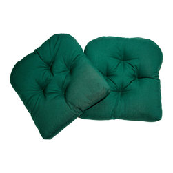 US Bedding - Hunter Green Diamond Tufted Wicker Chair Pad (Set of 2) - All cushions are designed to fit most sizes of patio furniture and are filled with eco-friendly quick drying polyester fiber fill. Proudly Manufactured in the USA. Does not come with ties.