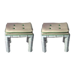 Pre-owned Mid-Century Bamboo Style Stools - A Pair - These stools are Hollywood Regency style at its finest! With white metal faux bamboo legs and the original kelly green piping, they pack a lot of personality for their small size. They're in excellent vintage condition.