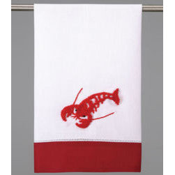 Embroidered Red Accented Linen Guest Towels, Lobster - These cute embroidered guest towels would be great for adding color to each place setting. And, you can let guests take them home as a party favor.