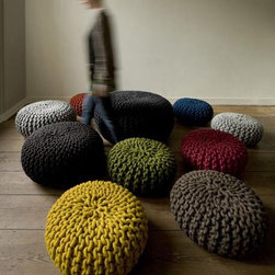 Urchin Pouf Small By Thomas Eyck - The Urchin Pouf by Thomas Eyck is warm and over-sized hand-knitted pouf. It is perfect for tossing in any room, and will become a sculpture, a comfortable seating, and a floor decor.