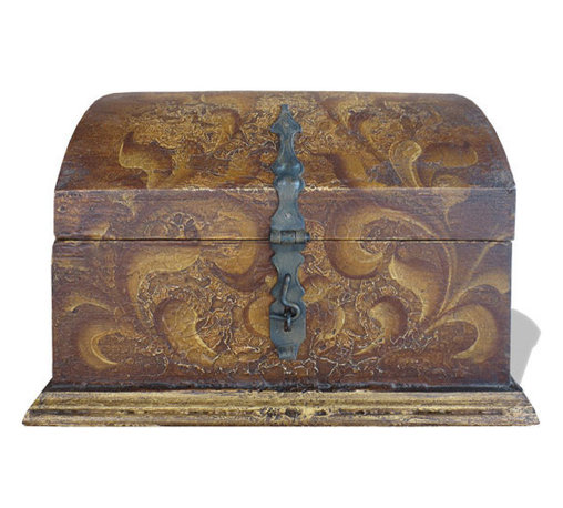 Koenig Collection - Old World Accessory Chest, Fresco Brown Torched - Accessory Chest, Fresco Brown Torched with Scrolls