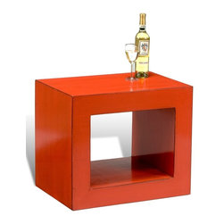 """Sarreid Ltd - Cube Table Chinese Red or Black by BSEID - Turn it, fill it, lay it down, lay glass over it, etc. For transitional appeal this Chinese Red Cube Table is a bright and useful accent adding bold energy to its space. Constructed of pine with mildly distressed corners instilling character. Glass top not included. (SAR) 26"""" wide x 18"""" deep x 22"""" high Also available in distressed and rubbed black"""