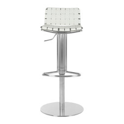 Safavieh - Safavieh Floyd Gas Lift Barstool X-C0003XOF - Choose the Floyd Gas Lift Barstool for stylish comfortable seating that adjusts to your needs. With white woven bonded-leather seat and back contrasting a sleek stainless steel base, pedestal and footrest, Floyd offers fashion and function. Designed for counters and people of varying heights.