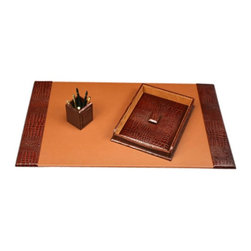 Bey-Berk - Winchester Brown Croco Leather 3-Piece Desk Set - D1400-A3 - Shop for Desk and Drawer Organizers from Hayneedle.com! Add a uniquely individual character to your desk with the Brown Croco Leather Desk Set. All three pieces in this set sport a stylish crocodile skin-like texture and a deep cocoa brown color for an exotic look. The desk pad has the textured leather on either side flanking a warm-tone brown leather to make an attractive contrast. Its lidded paper tray stores your stationery while your pens pencils stamps and paper clips stay organized in the pencil cup.