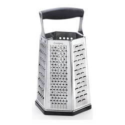 "Cuisipro - Cuisipro Surface Glide Technology 6-Sided Box Grater - The surface glide technology takes the etched blade a step further and makes the graters sharp and more productive - grating more with less effort. The science behind surface glide technology is based in the repeated grooved pattern that is spread evenly across the face of the grating surface. The grooves provide 2 distinct benefits beyond other graters. First, the groove reduces resistance, making grating effortless. Second, the elongates groove shape lengthens each individual blade, so each blade has a greater cutting surface that comes in contact with food, therefore producing more gratings per stroke. Seven (7) grating surfaces:Fine for citrus zest and Parmesan. Coarse for most cheeses and vegetables. Ultra-Coarse for soft cheeses. Parmesan for Parmesan and chocolate shaver for chocolate and Parmesan. Slicer for a variety of vegetables. Bonus ginger grater in base shreds fresh ginger root while leaving unwanted fibers behind. Non-slip handle and removable base for stability. Calibrated, dry measuring units on side. Stainless steel blade. Hand wash preferred. Dimensions: 9.5"" tall (24 cm)."