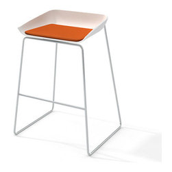 Turnstone - Steelcase - Scoop Bar Stool Silver Frame Pad Orange - Play it cool all you want; everyone always wants in on the scoop.