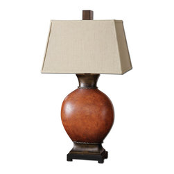 Crackle Finish Dark Red Table Lamp - *Heavily crackled ceramic body finished in a burnished dark red with dark bronze details and a black foot.