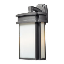 Elk - 2- Light Outdoor Sconce in Graphite - Simplicity of craft and form gives the Sedona collection a very attractive look through its minimalist approach. Inspired by the architecture and casual lifestyle of the desert southwest, this collection features clean lines with recessed edges, caramel