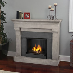 Real Flame Torrence Gel Fireplace - The Real Flame Torrence Gel Fireplace is a traditional style fireplace that makes a great focal point for your home living area. There's no smoke, odor, or ash - now that's an idea to warm up to. It's safe, as well: the glass stays cool to the touch. This beautiful fireplace uses 13-oz. canisters of Real Flame gel fuel (sold separately). You'll also get a firebox, hand painted cast concrete log, and screen kit.