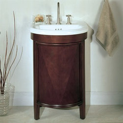 "Fairmont Designs - Fairmont Designs 23"" Contour Vanity Combo with Mirror - Deep Cherry - Fairmont Designs is described in two words; quality and beauty. Express your creativity with Fairmont Designs bathroom vanities and bath furniture ensembles. The distinctive families of bath furniture from Fairmont Designs come in styles for every bath. Artistry and elegance are delivered in carefully constructed products built with sustainable materials and sturdy craftsmanship. From petite corner solutions to traditional sized pieces, Fairmont Designs is your choice for exquisite and timeless beauty.Fairmont Designs allows you to create your own unique bathroom vanity set by mixing and matching pieces and components. Graceful lines are the hallmark of the Contour, with bow front doors displaying rich veneer wood grain and bead framing. The Contour is the perfect finishing touch to any powder room or compact bathroom. This modern single vanity is made of the finest select hardwood solids and veneers finished in a beautiful Deep Cherry color. The 23 inch Contour vanity comes complete with a white vitreous china sink and mirror!. Just add a faucet (8"" widespread faucet only) and you are good to go! Actual cabinet color may vary because each piece is handmade and finished. Please allow for 2-3 week delivery time for Fairmont Designs vanities. Features Completely hand made Custom china counter/sink Dimensions    Width Depth Height  Vanity/Counter 23 19 35.5  Mirror 19 30  How to handle your counter View Spec Sheet"