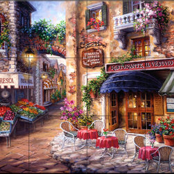 The Tile Mural Store (USA) - Tile Mural - Buon Appetito  2 - Kitchen Backsplash Ideas - This beautiful artwork by Nicky Boehme has been digitally reproduced for tiles and depicts a restaurant with a vegetable market across the street.  Our kitchen tile murals are perfect to use as part of your kitchen backsplash tile project. Add interest to your kitchen backsplash wall with a decorative tile mural. If you are remodeling your kitchen or building a new home, install a tile mural above your stove top or install a tile mural above your sink. Adding a decorative tile mural to your backsplash is a wonderful idea and will liven up the space behind your cooktop or sink.