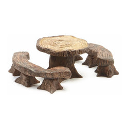 Wholesale Fairy Gardens - Tree Table & Benches Garden Décor - Provide your resident fairies a place to dine in your outdoor scene with this set of charming petite furnishings.   Includes one table and two benches Bench: 4'' W Table: 1.75'' diameter Resin Imported
