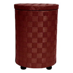 """Oriental Furniture - 26"""" Natural Fiber Laundry Hamper - Mahogany - This cylinder shaped clothes hamper is in a class of its own. Great for a craft or sewing basket, toy box, storing gloves and scarves, even shoes, boots, and flip flops. The substantial lid has a collar underneath to hold it in place. With almost a foot and half diameter, there is a lot of storage space, and at over two feet tall, it's the right height for a tall end table or night stand. This is an interesting and attractive piece of furniture, a beautiful splash of color in the bedroom, bath, living room or entry."""