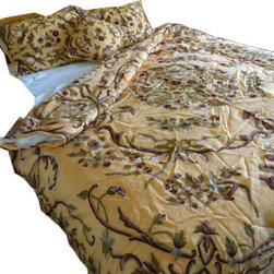 Crewel Fabric World - Crewel Bedding Art Nouveau Hay Gold Silk Organza, Queen - Inspiration: From the cathedrals of Rome to the temples of India Art Nouveau has been the cornerstone of the awe inspiring monuments cherished by the world for centuries. The Use of skill and imagination in the creation of aesthetic objects, environments, or experiences that can be shared with others has intrigued human thoughts for centuries. This pattern is our attempt to capture the mystique of Art Nouveau.