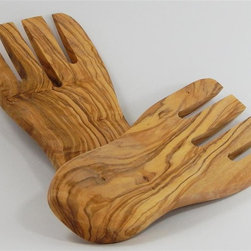 Le Souk Ceramique - Olive Wood Salad/Pasta Hands - Set of 2 - Olive wood is only suitable for hand-wash. No dishwasher, oven, freezer, or microwave. We finish our olive wood pieces with our own proprietary mixture of soy oil, food-grade paraffin wax (like that used on fruit sometimes), & beeswax. We use only olive wood that has been cut with Tunisian Ministry of Agriculture certification as no longer fruit-bearing for olive oil production. For lasting quality, we suggest reapplying any type of vegetable oil to the olive wood item periodically. Simply rub oil in with a paper towel. We hand-finish all of our olive wood items so each piece will vary in wood grain and in some cases, the exact cut & shapeWe are pleased to introduce Le Souk Olivique, our new olive wood studio in Tunisia and a sister company of Le Souk Ceramique.  We aim to produce the finest olive wood kitchen tools ranging from utensils to boards and bowls and much more.
