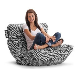Big Joe Roma Bean Bag Chair - Zebra - Great for your hip dorm room, the Big Joe Roma Bean Bag Chair - Zebra lets you cram in comfort. Its durable SmartMax fabric upholstery will keep that exciting zebra print popping for years to come. Just sit back and relax, this bean bag chair is more than comfy with its ultimaX stuffing.About Comfort ResearchTen years ago Comfort Research created the Fuf chair, an innovative update on the classic bean bag chair made of patented Fuf foam. This special blend of foam never goes flat for long-lasting comfort. Based in Grand Rapids, Michigan, Comfort Research has recently developed several new lines of creative, inventive chairs. They have addressed the needs of eco-friendly consumers by creating incredibly comfortable green chairs; one style is made with buckwheat filling and organic cotton, the other uses recycled polystyrene filling and a special fabric made of recycled pop bottles. No matter which style or shape of chair you choose, you can be sure that your Comfort Research product will look great and stay comfortable for years to come.