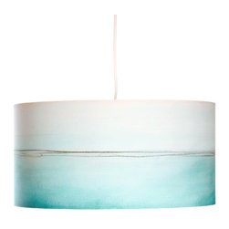 "Rowan Chase - Aqua lines - Bring down the pace in your home with the relaxing blue from the Aqua line drum pendants by Californian artist Rowan Chase. These unique lamps are constructed on white powder coated lampshade rings with Rowan Chase artwork. 100% Cotton Velvet Watercolor paper, a white 10 foot cord with porcelain fixture and white ceiling canopy. Lamps come assembled and ready for installation. They are handmade in California one shade at a time by Rowan Chase himself in his studio. Available in five sizes from 6"" to an amazing 24"" centerpiece which completely changes your dining, bed or living room! All shades are 9"" tall."
