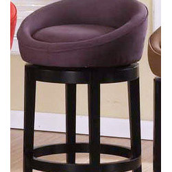 "Armen Living - Igloo Microfiber Swivel Barstool in Eggplant - Igloo barstool is a great contemporary swivel barstool in an easy to clean eggplant microfiber cover. Armen Living is the quintessential modern-day furniture designer and manufacturer. With flexibility and speed to market, Armen Living exceeds the customer's expectations at every level of interaction. Armen Living not only delivers sensational products of exceptional quality, but also offers extraordinarily powerful reliability and capability only limited by the imagination. Our client relationships are fully supported and sustained by a stellar name, legendary history, and enduring reputation. The groundbreaking new Armen Living line represents a refreshingly innovative creative collaboration with top designers in the home furnishings industry. The result is a uniquely modern collection gorgeously enhanced by sophisticated retro aesthetics. Armen Living celebrates bold individuality, vibrant youthfulness, sensual refinement, and expert craftsmanship at fiscally sensible price points. Each piece conveys pleasure and exudes self expression while resonating with the contemporary chic lifestyle. Features: -Available in 26"" or 30"". -Material: Microfiber. -Color: Eggplant. -Led finisHeight: Ebony. -Contemporary style. -Swivel seat. -Easy to clean. -Comes with standard 1 year limited warranty. -Overall dimensions: 26-30"" H x 20"" W x 20"" D."
