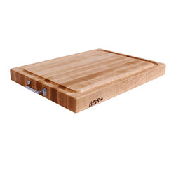 John Boos - Boos Reversible Cutting Board with Juice Groove & Handles - John Boos maple cutting board 24 x 18 in. Hard Rock Maple 2-1/4 inch thick. Chrome handles for easy maneuvering. Groove catches juices for re-use in gravy.