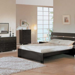 Elegant Wood Modern Master Bedroom Set with Extra Storage - Modern platform camilla bedroom in rich dark brown color.