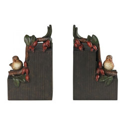 Sterling Industries - Set Of 2 Bird On Berry Branch Bookends - Set Of 2 Bird On Berry Branch Bookends