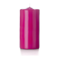 """Neo-Image Candlelight Ltd - Set of 6 - Yummi High Gloss Pillar Candles - 16 Colors, Hot Pink, 3""""x6"""" - Our unscented 3""""x6"""" High Gloss Pillar Candles are ideal when creating a beautiful candlelight arrangement for the home or wedding decor.  Available in 7 trendy High Gloss candle colors hand over dipped with white core to match and compliment your home decor or wedding centerpiece decoration."""