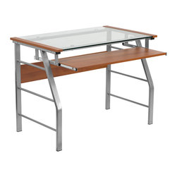 Flash Furniture - Flash Furniture Glass Computer Desk with Pull-Out Keyboard - NAN-JN-2940-GG - This modern Computer desk with included keyboard tray will update your work space. The beveled leg frame adds to the appeal of this large surface computer desk. [NAN-JN-2940-GG]