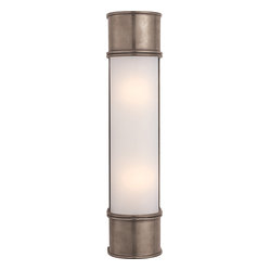 Oxford 18-inch Bath Sconce in Antique Nickel with Frosted Glass