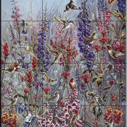 The Tile Mural Store (USA) - Tile Mural - Garden Jewels - Ta - Kitchen Backsplash Ideas - This beautiful artwork by Wanda Mumm has been digitally reproduced for tiles and depicts a colorful collection of birds and flowers.  With our enormous selection of tile murals of plants and flowers you can bring your kitchen backsplash tile project to life. A decorative tile mural with plants and flowers is an impressive kitchen backsplash idea and decorative flower tiles also work great in the bathroom. Add splashes of color and life to your tile project with images of flowers on tiles and tiles with pictures of plants.